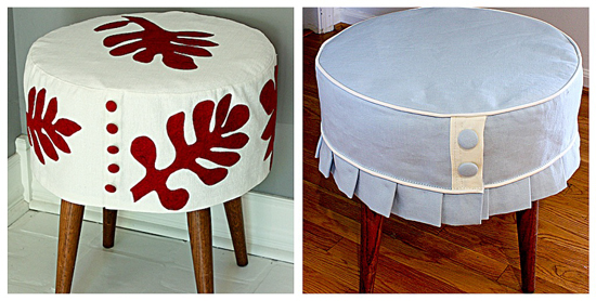 When I think of a brilliant little project idea, I'm jsut tickled to death.  A while back I bought this small round rattan ottoman from a thrift store  in ... - Make Easy Ottoman Slipcovers From One Pattern ModHomeEc