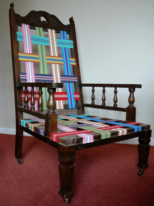 Itu0027s Striped Webbing!!! My Friend, Kate, The Chairy Godmother, From Rapt  Upholstery In Australia Posted This Image Of An Antique Chair All Freshened  Up In ...