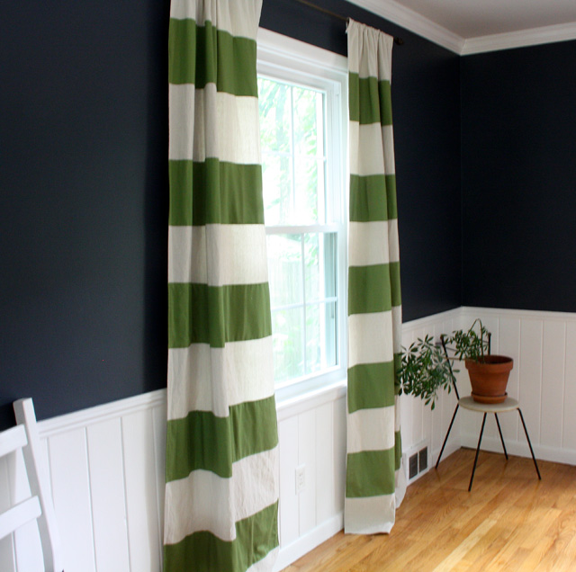 Sew Your Own Preppy Striped Drapery Fabric Panels