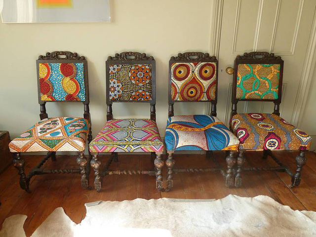 Frumpy Chairs Get A Tribal Fabric Makeover Modhomeec